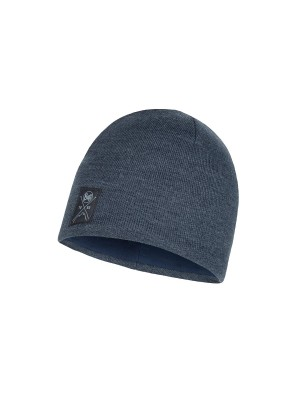 Buff Solid Knitted Beanie Navy