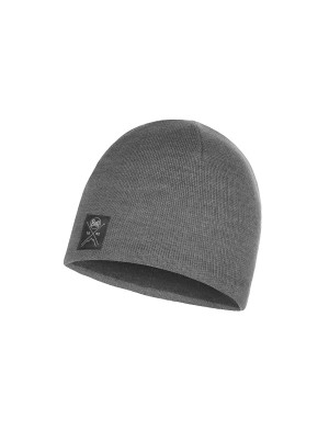 Buff Solid Knitted Beanie Grey